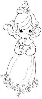 Small Picture Girl with a kitten coloring pages precious moments 1 Trang t
