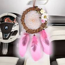 handmade dream catcher w feather wall car hanging decor ornament gift pink