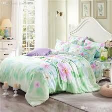 whole modern 2016 summer new mint green murrayae pattern tencel silk bedding fl shabby chic duvet cover king queen size flat sheet cotton bedding
