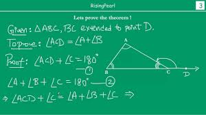 prove exterior angle theorem. exterior angle equals sum of two interior opposite angles (theorem) - youtube prove theorem