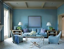 room decorating ideas pictures with blue painted on the wall also blue fabric curtain and blue fabric sofa sets besides blue ceramic table lamp beige