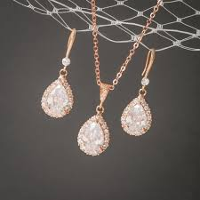 rose gold wedding jewelry set crystal bridal earrings pendant necklace teardrop celena diamond pretty and design