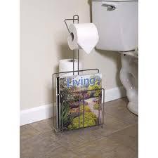 Chrome Toilet Paper Holder Magazine Rack Zenna Home 100SS Toilet Paper Stand with Magazine Rack Chrome 42
