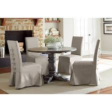 dove gray 5 piece round dining set with parsons chairs muses rc willey furniture