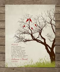 40th wedding anniversary gift tree print 10 15 20 25 custom years personalized important dates marr