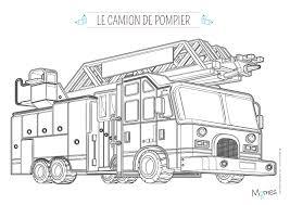 Coloriage Camion De Pompier Avec La Grande Echelle L