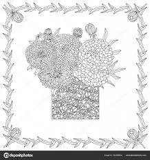 Illustrazione Mazzo Di Fiori Da Colorare Mazzo Di Fiori In Vaso