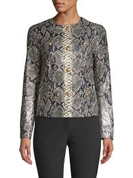 escada lany snake print leather jacket fantasy women s