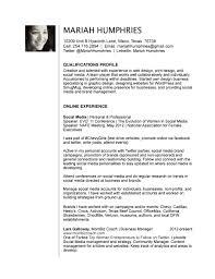 social media resume social media resume 0704