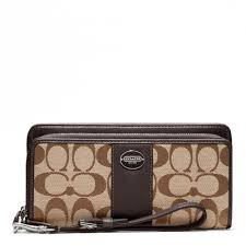 Lyst - Coach Legacy Signature Double Zip Accordion Wallet in Brown