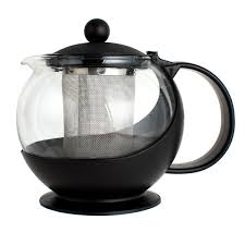 tempered glass tea pot infuser with stainless steel basket image preview main picture