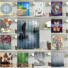 description fabric waterproof bathroom shower curtain animals printing