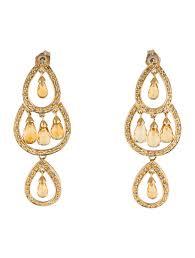 glk 14k yellow gold diamond and citrine chandelier earrings