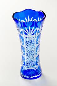 blue cut glass vase large