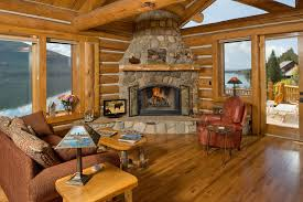 cabin living room ideas living room rustic with wood fireplace mantel timber railin