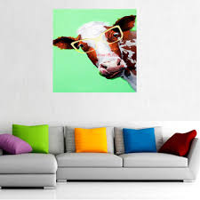 Oil Paintings For Living Room Hand Painted Lovely Cow Wall Art Animal Home Decor Modern Oil