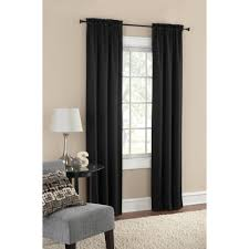 mainstays thermal solid woven light blocking curtains in black for home decoration ideas