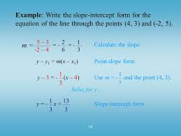example write the slope intercept form for the equation of the line through the