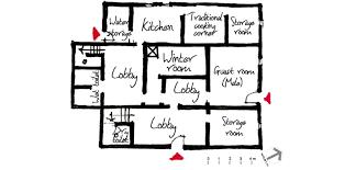 a sketch of a ground floor plan for a sample house in el gara village
