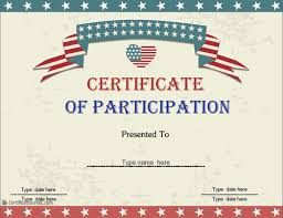 Special Certificates Certificate Of Participation Usa