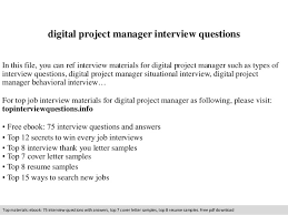 Digital Project Manager Interview Questions Ideas Of Cover Letter