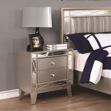 Metallic Bedroom Furniture Leighton Collection 204921 Mirrored Panel Transitional Design With