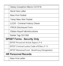Employee Hire Forms Sample New Employee Checklist Orientation Template Hire Form