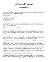essay on sound of thunder essay on a sound of thunder by ray bradbury essays and