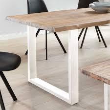 Set Esszimmer Tisch Sitzbank In Akazie White Wash Weiß Emnial