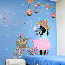 girl room wall decals wall decor cycling girl art wall stickers for kids rooms home decor girl room wall decals
