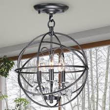 stylish crystal and metal orb chandelier benita 3 light antique black metal globe crystal flush mount