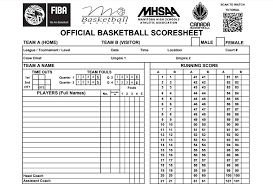 Basketball Score Sheets Fiba Basketball Scoresheets Basketball Manitoba
