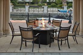 mountain view cast aluminum 7 piece dining set with 60 round propane fire pit