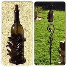 tiki torch stand custom handmade wrought iron scroll leaf wine bottle holder torch stand set of