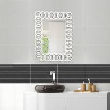 decorative bathroom mirror rectangle. Fab Glass And Mirror THE UNION - Decorative Rectangle Wall Design L 35.5 X W 27.5 Bathroom M