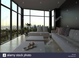 modern minimal lounge lighting. Modern Narrow Minimalist Living Room Interior In Evening Light With An Upholstered Lounge Suite And Coffee Tables Wrap Around Floor-to-ceiling Glass Minimal Lighting R