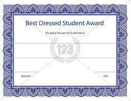 Free Award Certificate Templates For Students Best Dressed Student Award Certificate Template Download