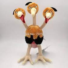 Anime nuevo tres cabezas pájaro Dodrio de felpa Rosa cola suave muñeca  animal relleno figura juguetes niños regalo de 12 pulgadas|