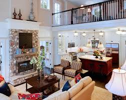 ... Traditional living room with a mezzanine level that draws attention  instantly