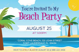 Beach Invitation Beach Party Invitation Template Vector Illustration