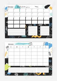 Horizontal Weekly Planner Template Set Of Horizontal Month And Weekly Planner Templates With Week