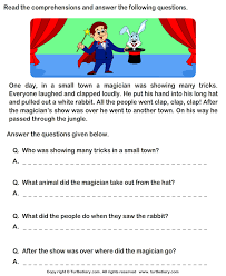 reading comprehension magician worksheet turtle diary reading comprehension stories