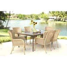 home depot wicker patio furniture lemon grove 7 piece wicker outdoor dining set with surplus cushion home depot