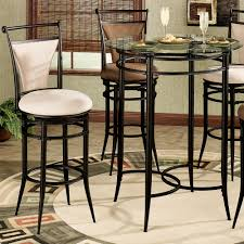 4 person black polished legs bistro table using round glass top and c shaped stretcher