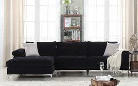 black sectional sofa. Brilliant Black Amanda Modern Velvet Large Sectional Sofa In Black With D