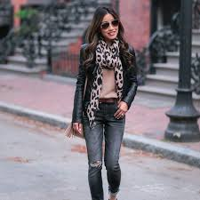 denim leather and leopard print outfit