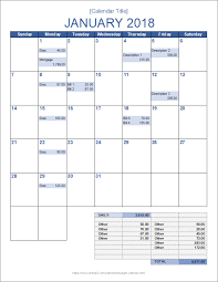 Budget Excel Monthly Budget Calendar Template