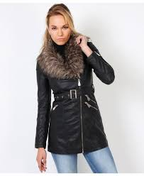 fur collar panelled leather jacket