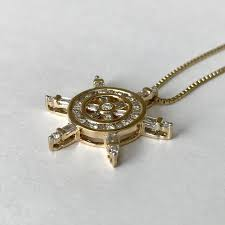 1 00ctw diamond ship wheel pendant 14k yellow gold with chain
