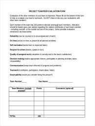 Sample Peer Evaluation Form Template Latest Peer Evaluation Peer Evaluation 23